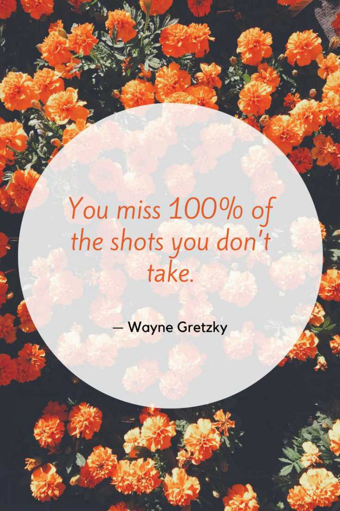 You miss 100% of the shots you don't take.—Wayne Gretzky